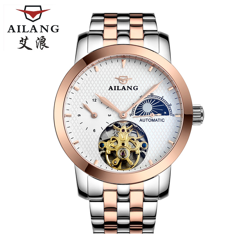 AILANG mens wristwatches luxury brand Mechanical automatic man watches 30m waterproof 316L stainless steel Tourbillon moon Phase mens watches mechanical automatic stainless steel waterproof man wristwatches fashion hollow oubaoer brand luxury men s clocks