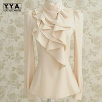 New Womens Victorian Ruffle Collar Blouse Puff Sleeve Silky Luxurious Top Shirt For Women Female Shirts