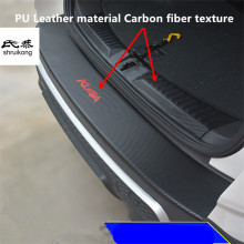 1pc car sticker carbon fiber texture PU leather trunk door sill decorative cover for 2013 2014