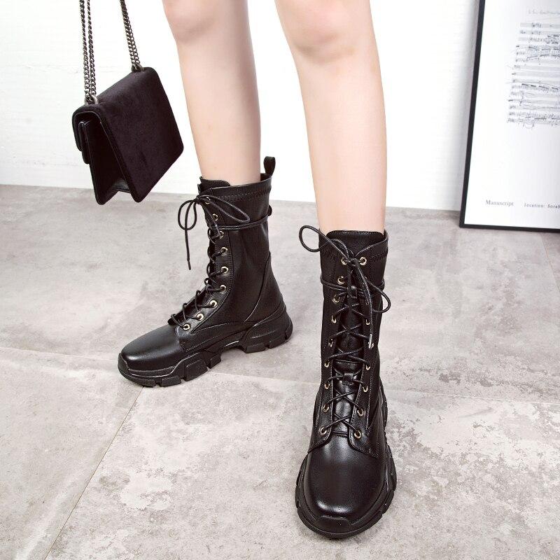Calzado Mujeres Botas Oxford Martin Señoras Ternero Otoño Pu Negro Mediados Mujer Plataforma Nuevas De Tacones Encaje Zapatos Lluvia 2018 Las Cuero EqpUXX
