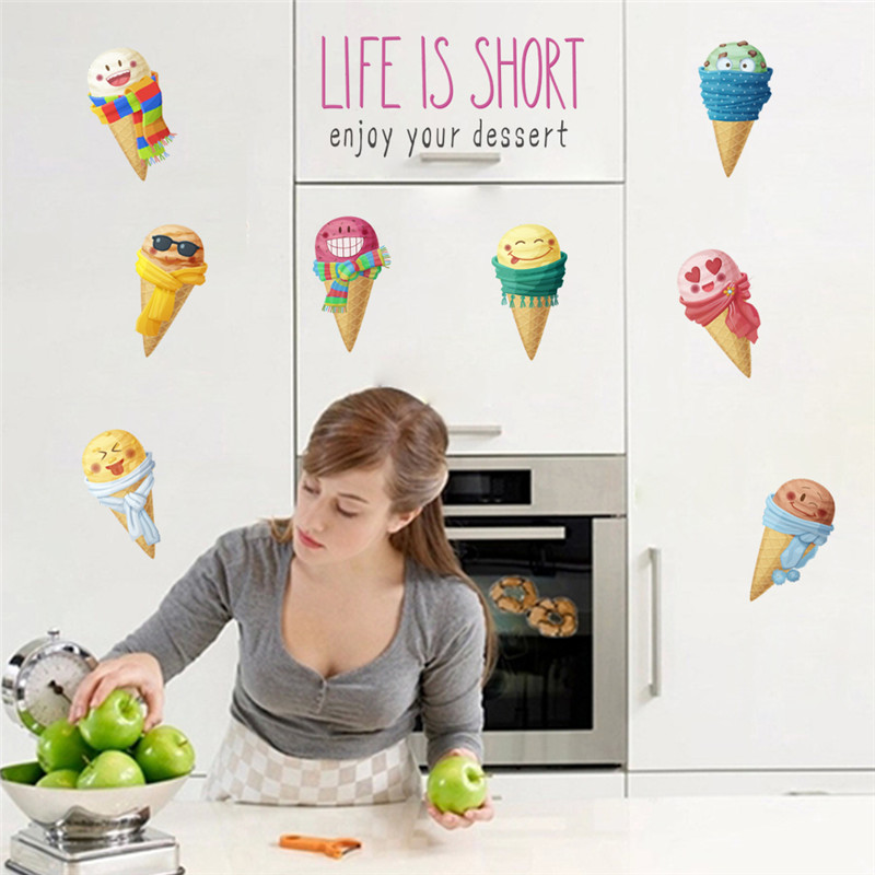 Funny Emoji Of Ice Cream Wall Stickers For Kitchen Dining Room Bar Shop Home Decoration Cartoon Mural Art PVC Wall Decal