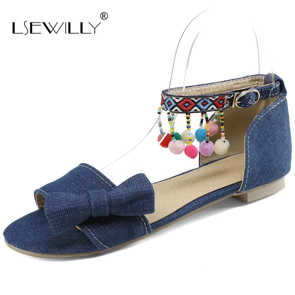 Lsewilly Newest 2018 Spring Summer Women Flat Sandals Ankle Strap Bowtie Shoes Women Peep Toe Buckle Sandals Big Size 32-48 S018 lucyever women vintage square toe flat summer sandals flock buckle casual shoes comfort ankle strap women footwear mujer zapatos