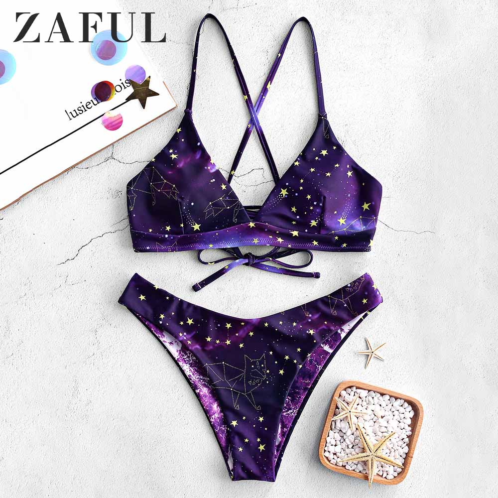 ZAFUL Bikini Galaxy Print Lace-Up Reversible Bikini Set Spaghetti Straps Criss-Cross Swim Suit Wire Free Padded Swimwear 2019