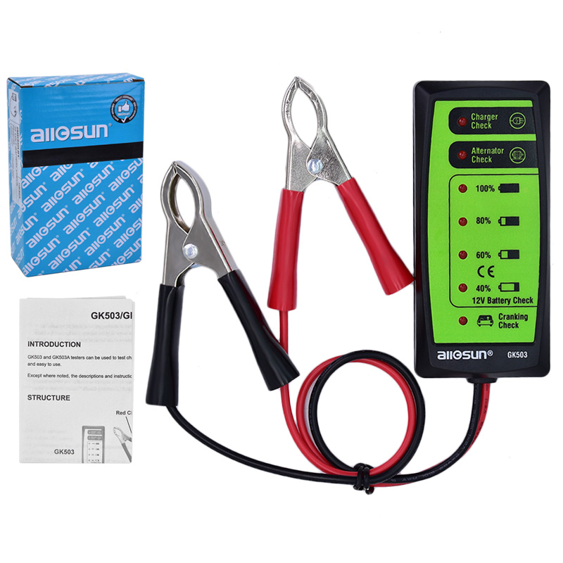 10Pcs All-Sun GK503 Mini 12V Automotive/ Car Battery Tester Charger/ Alternator/ Cranking Check with 6-LED Display Easy to Use  em281 mini 12v 24v automotive battery tester lcd bar indication battery load tester electrical all sun em281 battery analyzer