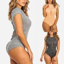 Women Casual O-Neck Short Sleeve Bodysuit Ladies Skinny Slim Casual Bod