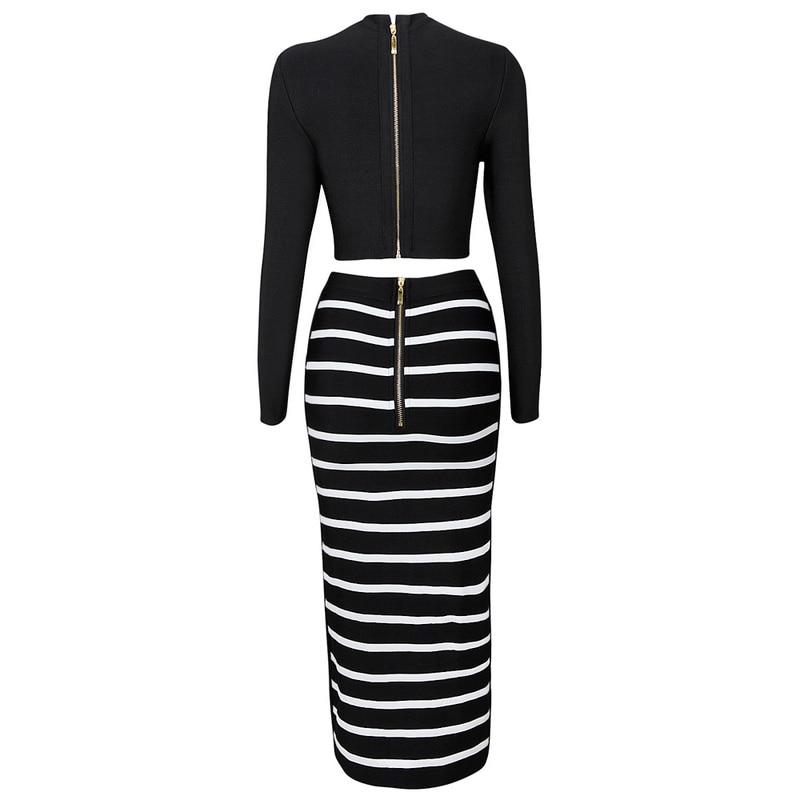 Robes Ensemble Gros Pièce À Nouveau Manches Longues Occasion 2018 2 Célébrité Femmes Deux Noire Spéciale En Bandage Style Robe nWaFqU8XF