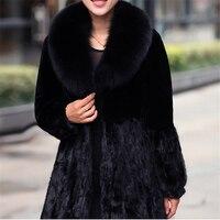 2018 Для женщин с капюшоном Искусственный мех пальто Винтаж Искусственный Черный искусственного меха лисы пальто с большой Размеры FF028
