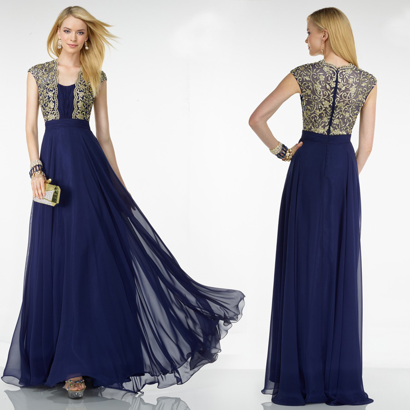 Vintage Evening Dress Gold Appliques Dark Blue Chiffon 2016 Fashion New Style Formal Dresses