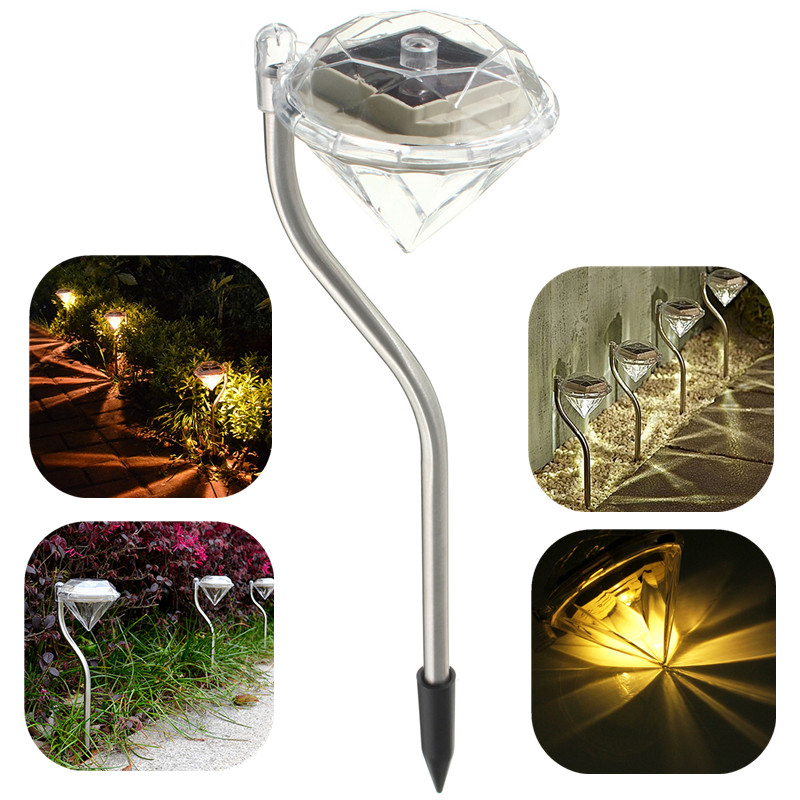 Outdoor Waterproof LED Lamp Solar Powered Garden Light Diamond Lamps Lawn Light Decoration Villa Courtyard Colorful Lights