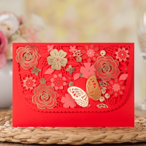 Wishmade 3d Butterfly Laser Cut Red Chinese Wedding Invitation Card