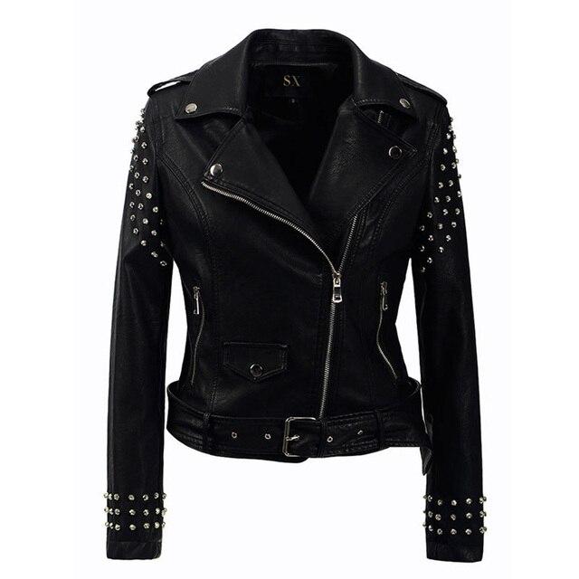 e6a46b8b2c US $58.92 50% OFF|Women Fashion PU Jacket Black New Autumn Slim Punk Style  Lapel Zipper Rivet Belt Girls Handsome Western Style Women Short jacket-in  ...