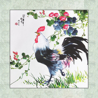 Finished Suxiu Animal embroidered Chinese painting Cock Morning Glory living room Deco Ink style Hanging Wall Art Unframed