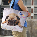 Cute Pug Soft Foldable Tote Women Shopping Bag Casuale Girls Travel Shopping Handbag Large Capacity Grocery Packing Tote Eco Bag