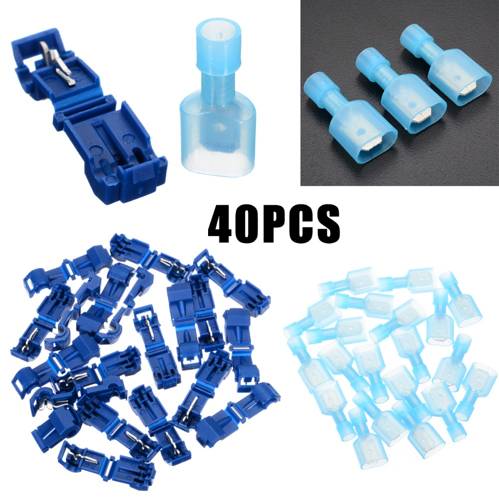 40pcs Blue T Tap Insulated Quick Splice Wire Terminal Spade Crimp Connector Combo Set 2.5-4.0mm2 AWG 16-14