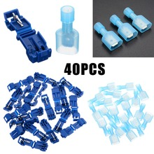 40pcs Blue T Tap Insulated Quick Splice Wire Terminal Spade Crimp Connector Combo Set 2.5-4.0mm2 AWG 16-14 40pcs blue t tap insulated quick splice wire terminal spade crimp connector combo set 2 5 4 0mm2 awg 16 14