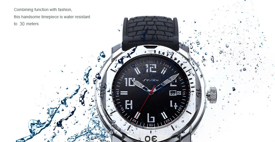 SINOBI Surfing Clock 3Bar Waterproof Watch Mens Sports Wristwatch Designer Branded Chronograph Male Spy Geneva Quartz-watch 007 22