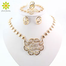 Free Shipping African Beads Jewelry Sets Gold Color Clear Crystal Women Wedding Necklace Bracelet Earring Ring(China)