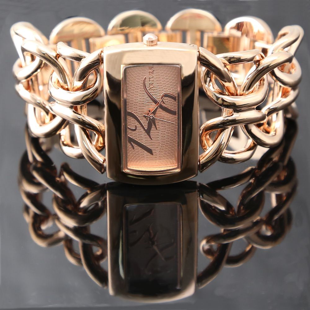 ALEXIS Brand Rose Gold Double Clasp Chain Bracelet Watch women 2018 gorgeous quartz wristwatch 1111 watches montre femme