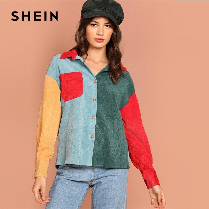 316846b327a2 SHEIN Multicolor Button Up Color-Block Pocket Collar Long Sleeve Blouse  Women 2019 Spring Streetwear