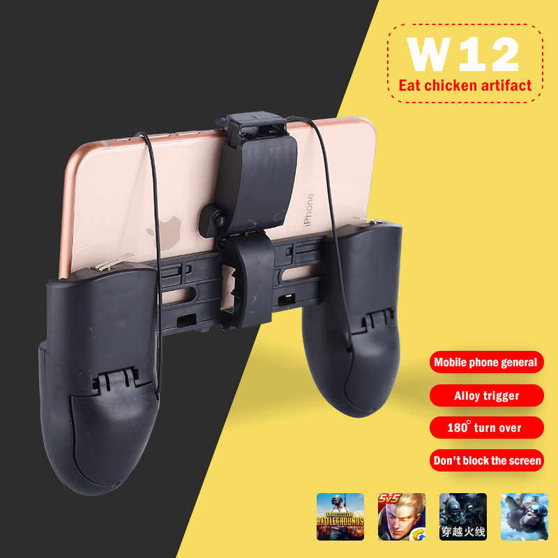 High Quality Gamepad W12 PUGB Mobile Game Controller Free Fire PUBG Mobile Joystick Gamepad Metal L1 R1 Button For IPhone