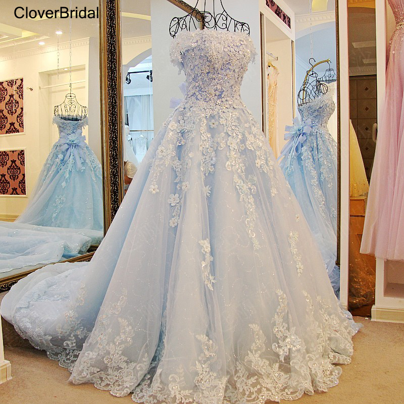 2019 spring summer romantic luxury flowers bow lace appliques glitter tulle tiffany blue wedding dress xj98850