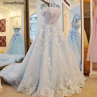 2017 Spring Summer Romantic Luxury Flowers Bow Lace Appliques Glitter Tulle Tiffany Blue Wedding Dress Xj98850