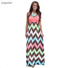 Laipelar Patchwork Striped Wave High Waist Long Women Sundress 2018 Summer Sleeveless Elegant Dress Party Vestidos