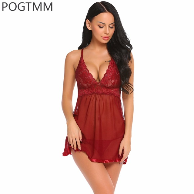 ff9a7858f Hot Sexy Porno Lingerie Underwear Women Floral Lace Nightwear Sex Babydoll  Dress and Erotic Panty Set Black Langerie Intimates