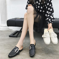 mules Metal Decoration Round Toe Rivet Buckle Strap Hoof Heels Low soft leather moccasins Solid slides lady warm spring fenty