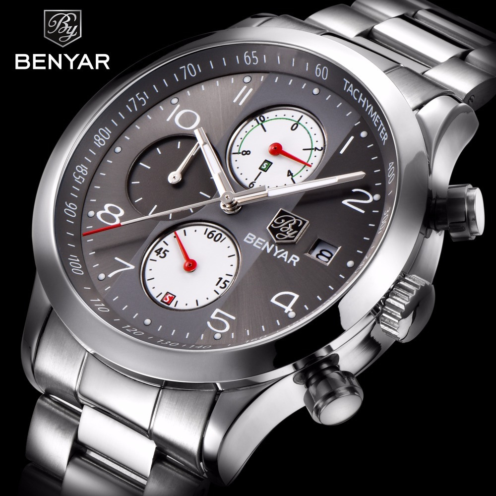 BENYAR Stainless Steel Waterproof Chronograph Watches Quartz Military - Men's Watches