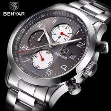 BENYAR Stainless Steel Waterproof Chronograph Watches Quartz Tentera Lelaki Watch Top Brand Luxury Male Sport Clock reloj hombre