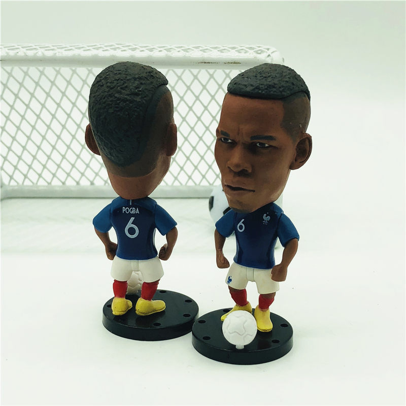Soccerwe Movable Base Soccer Star Doll France 6# Pogba Figure 2018 Champions