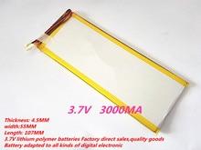 best battery brand 1PCS  PL4555107 battery li polymer battery 3000MA battery for GPS player for tablet PC