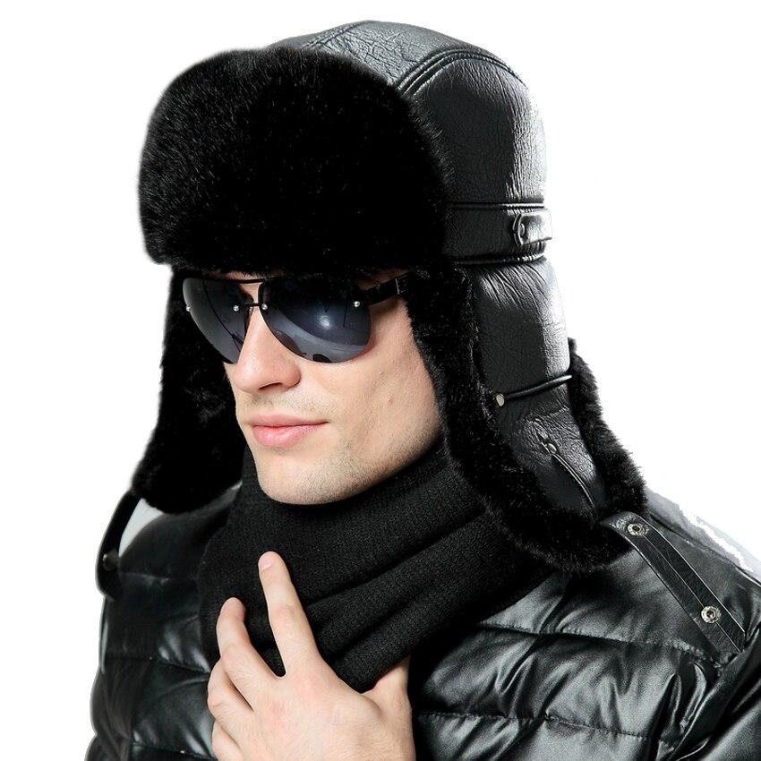 a93415983c7 Men Women Bomber Hats Black Russian Ushanka Winter Plush Earflap Trapper  Aviator Pilot Hat Faux Leather