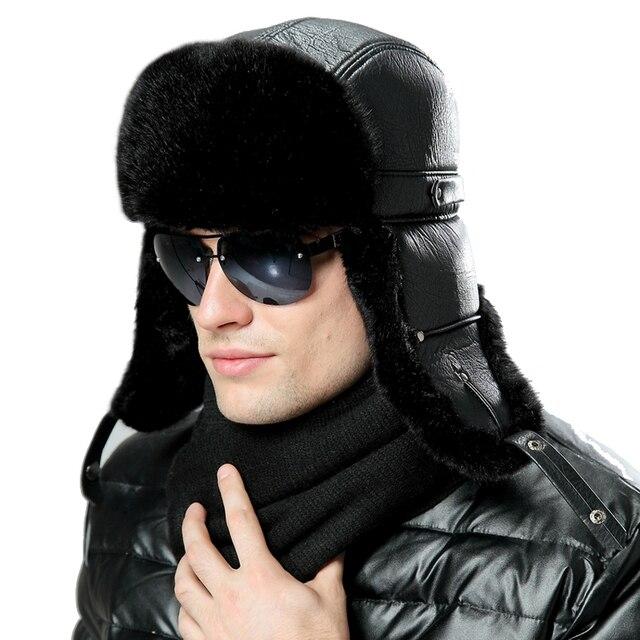 61758953c05ad7 Men Women Bomber Hats Black Russian Ushanka Winter Plush Earflap Trapper  Aviator Pilot Hat Faux Leather