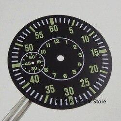 """Bliger 38.9 MM zielony przycisk """" pokaż dane kontaktowe świecące znaki sterylne Dial nadające się do ETA 6497 ST 3600 zegarek z czujnikiem ruchu Dial"""