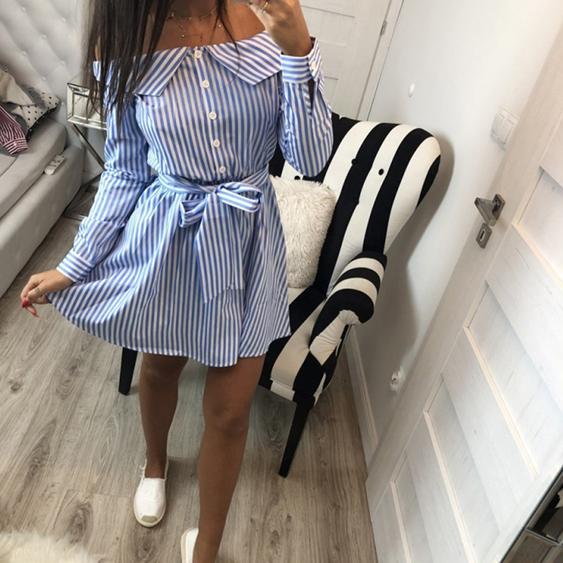 HENGSONG New Autumn High Street Stripped Long Sleeve Mini Dress Women Female A-Line Dresses With Sashes 721216