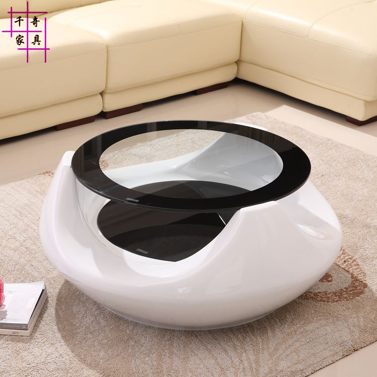 Hollow out of tea table. Creative living room toughened glass tea table. Round tea table modern tempered glass tea table small room creative tea table in the living room
