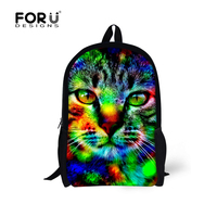FORUDESIGNS 2017 Camouflage Design Children School Bags Cool Animal Cat Wolf Printed Book Shoulder Bags For Kids Boys Mochila