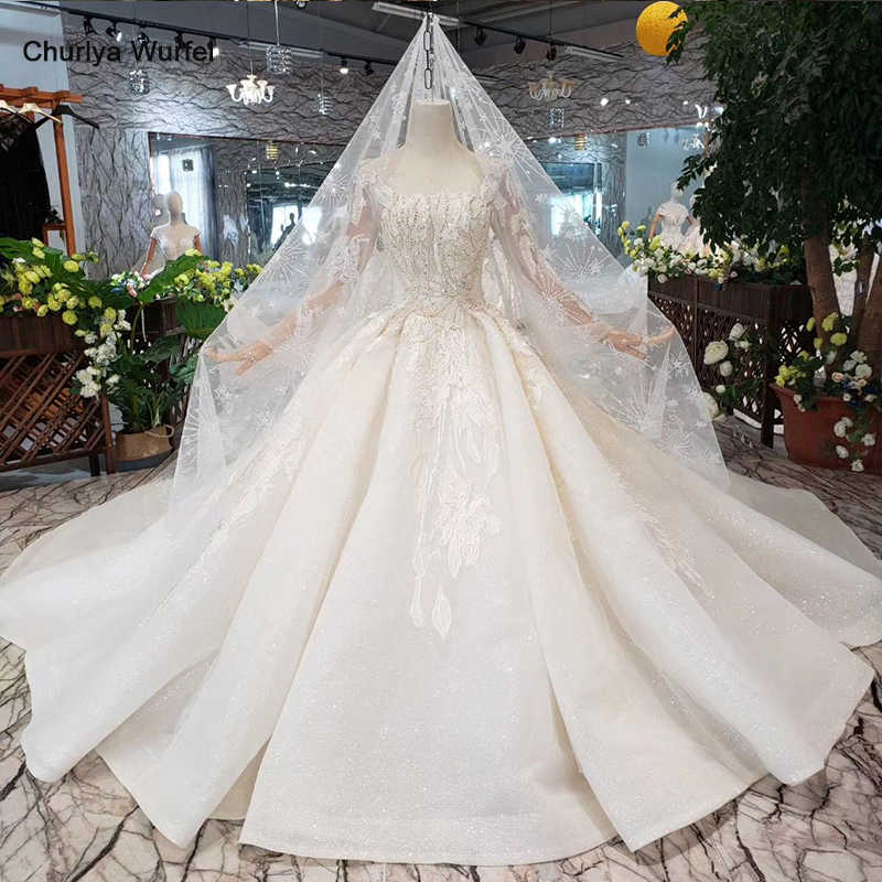 HTL331 Ball gown Wedding Dress with wedding veil square neck long sleeve button handmade bridal wedding gown with long train