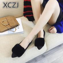 XCZJ 2017 autumn winter high quality Flock Flat Women's Shoes Pointed Toe Plush Shallow women Casual Loafers shoes