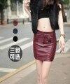 2016 nuevos modelos de explosión bolsa de cadera falda fillibeg verano Europeo moda delgado PU falda de cuero philabeg femenina Falda Tamaño