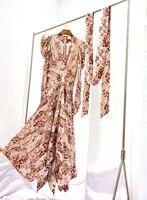 Роскошные дизайнерские платья дамы Одежда высшего качества взлетно посадочной полосы моды с пышными рукавами много вставок из разных ткан