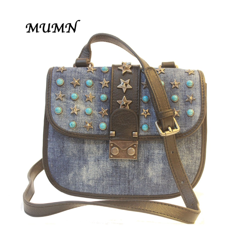 Small Washed Denim font b Shell b font Bag Cross body with Buttom Rivet Stars 3602