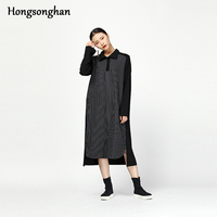 Hongsonghan 2018 Europe America individual character irregular stripe stitched restore ancient style loose autumn winter dress