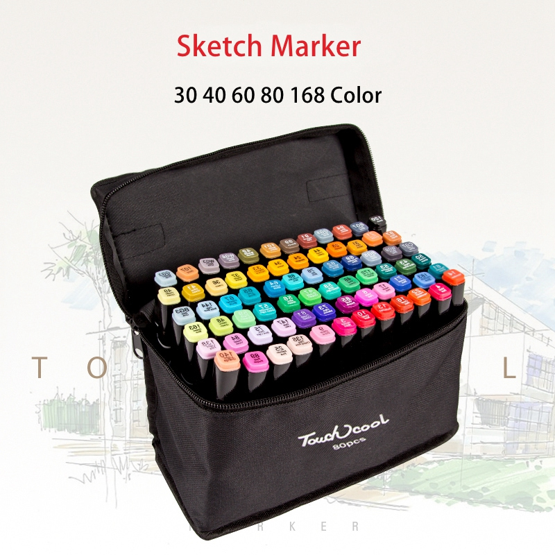 30/40/60/80/168 Color Art Marker Set Oily Alcohol Based Sketch Markers Pen For Artist Drawing Pens Art Supplies