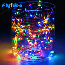 LED Button Copper Wire String Garland Festival Party Decorat
