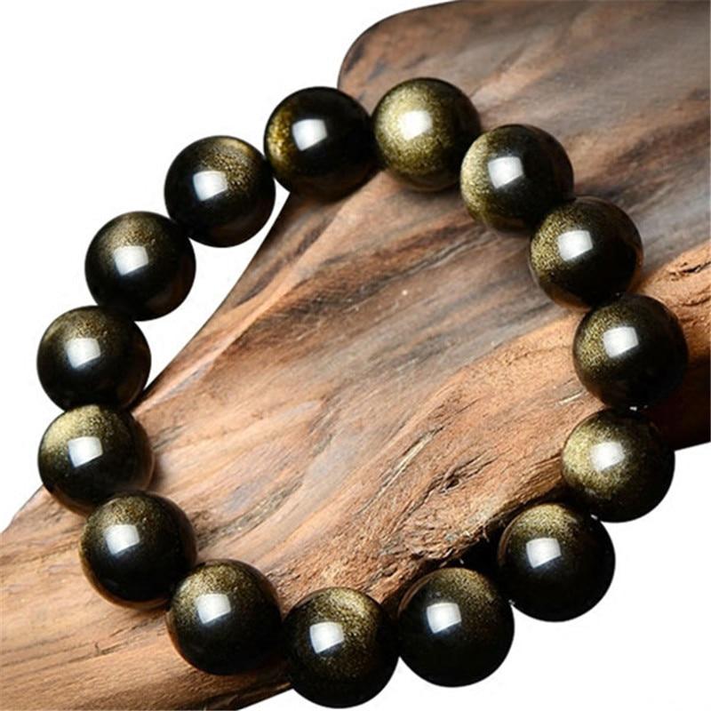 8-12MM բնական քարե Ոսկե օբսիդիանե - Նուրբ զարդեր - Լուսանկար 1