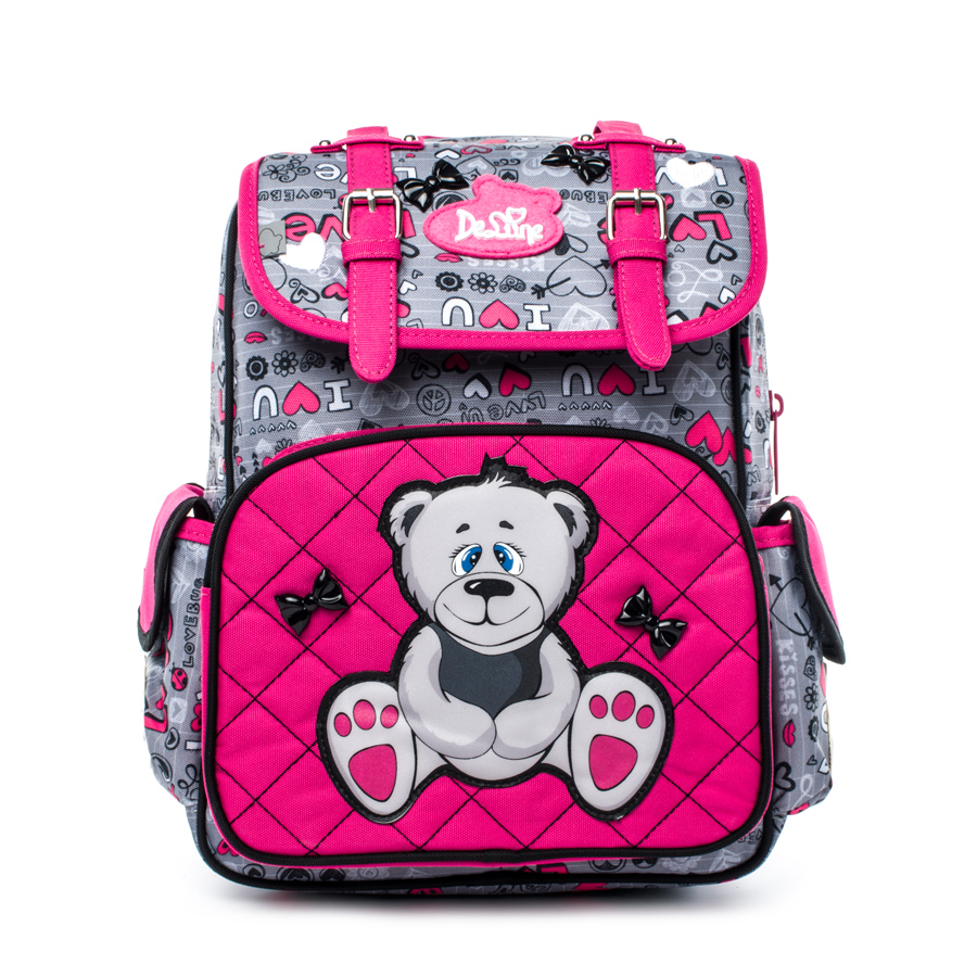 DELUNE Girls School Bag Children Orthopedic School Backpacks Waterproof Nylon Material Bear Prints Backpack for Girls delune