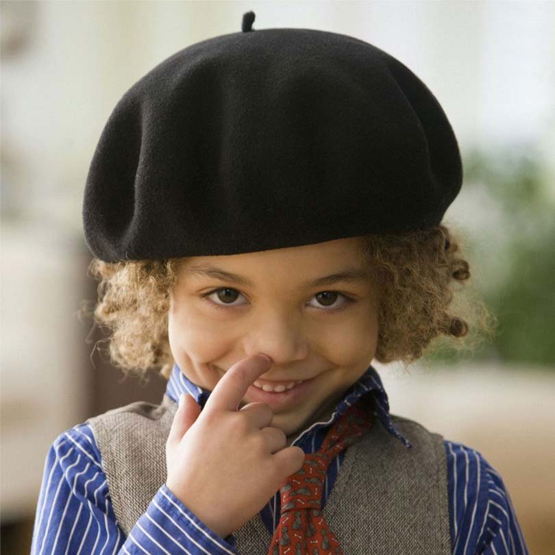 New Fashion Solid Color Warm Wool Winter Thin Wool Children Girl Beret French Artist Beanie Black White Hat Cap
